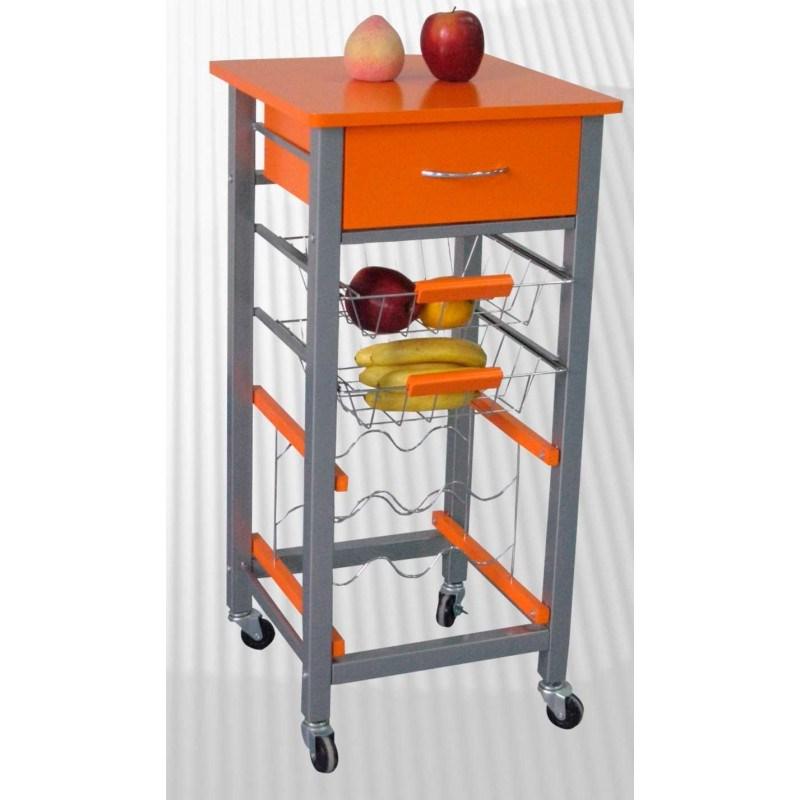 Carrito cocina frutero verdulero carro ruedas cajon naranja - Carrito para cocina ...